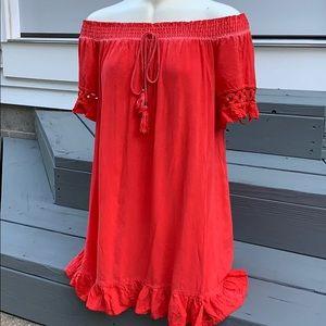 Miami Francesca's red off the shoulder dress small